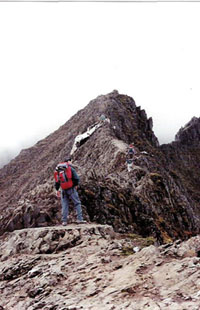 The arete on Crib Goch starting point of the Snowdon Horseshoe.